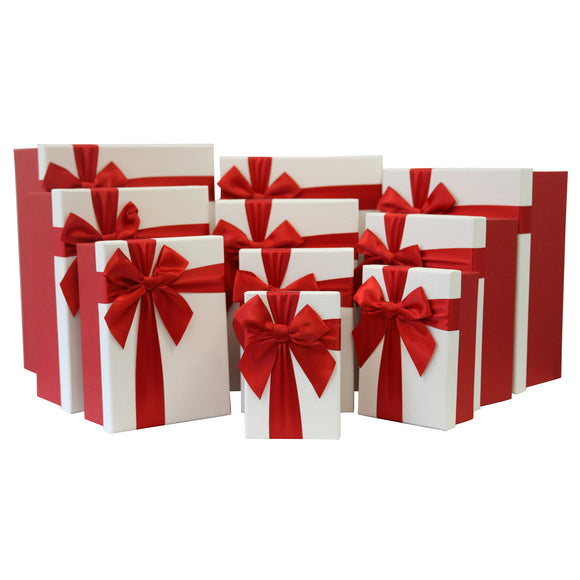 Set of 10 Red/White Luxury Gift Boxes with Bow