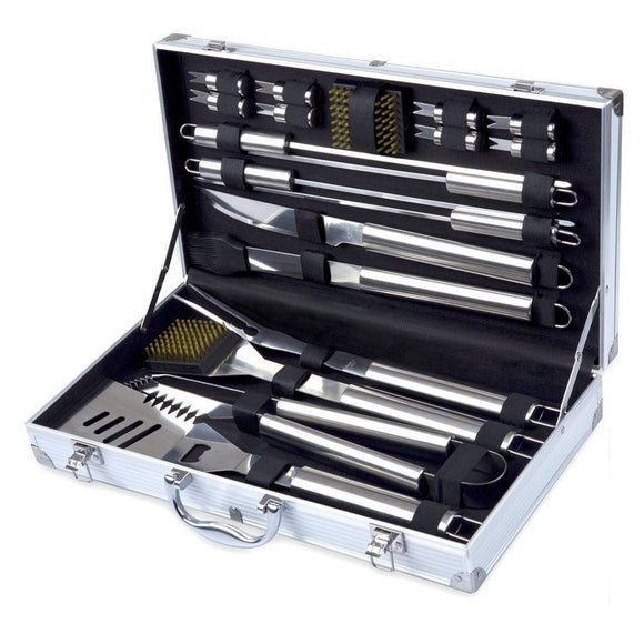 18 piece Stainless Steel BBQ Tool Set with Case