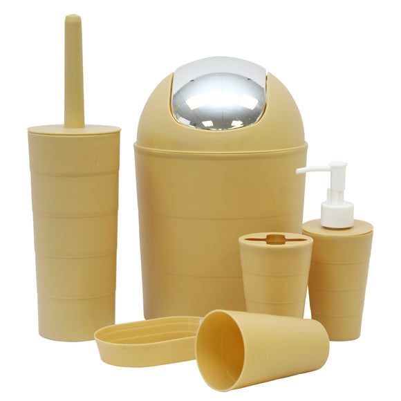 6pcs Bathroom Accessory Set (Mustard)