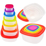 SuperGift Essentials - 7 Piece Multi Colours Lid Storage Containers Set