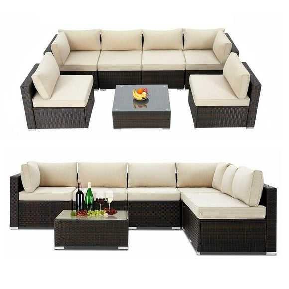 Rattan Garden Furniture 7 Piece (Black / Cream)