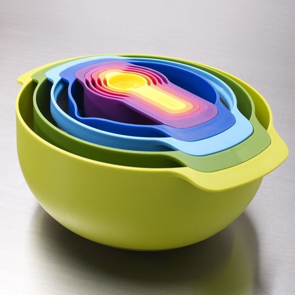 9 Piece Nested Food Preparation Bowl Set - Multicolour
