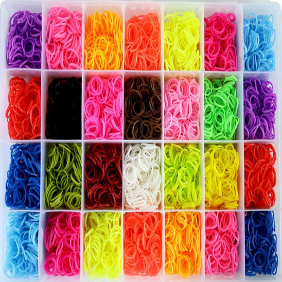 2800 Piece Rainbow Rubber Band Collection Set (Plain)