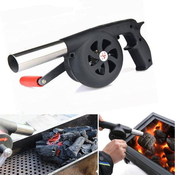 Manual BBQ Grill Fire Starter Rotating Fan