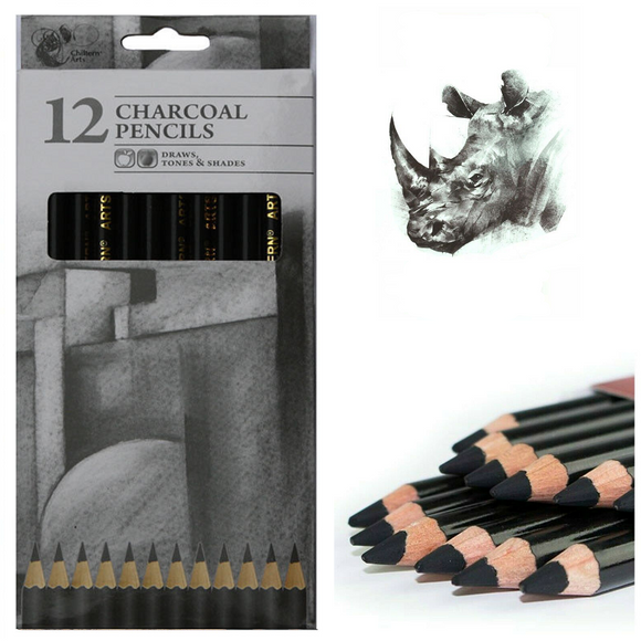 12 Pack Chiltern Arts Charcoal Pencils