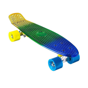 "Chrome Skateboard Cruiser 22"" (Blue/Gold)"