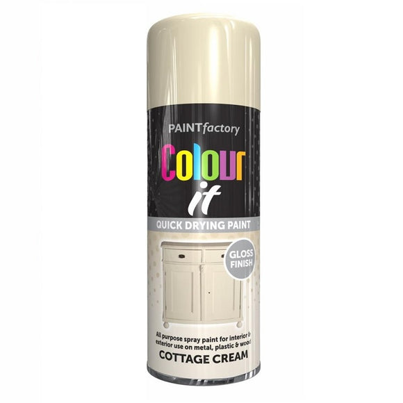 Colour It Cottage Cream Gloss Spray Paint 400ml