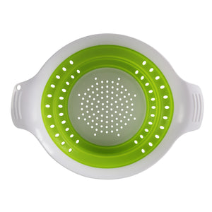 Collapsible Silicone Colander Drainer Green