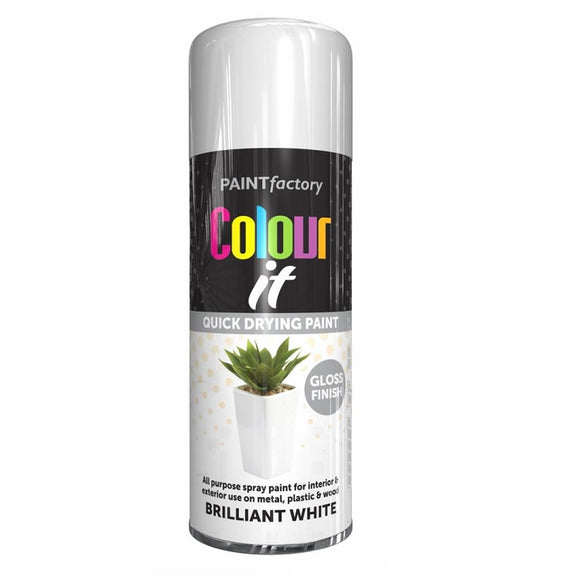 Colour It Brilliant White Gloss Spray Paint - 400ml