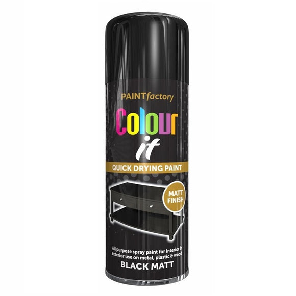 Colour It Black Matt Spray Paint 400ml - 1733PR