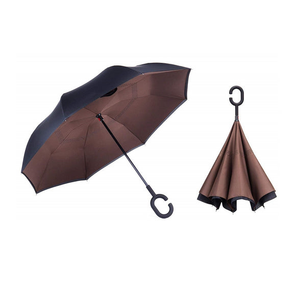 Double Layer Reverse Umbrella (Brown)