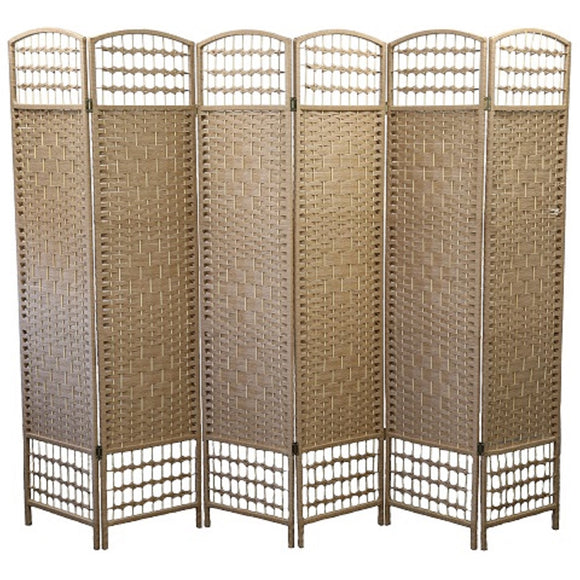 Solid Raffia Weave Room Divider Textured  6 Panel