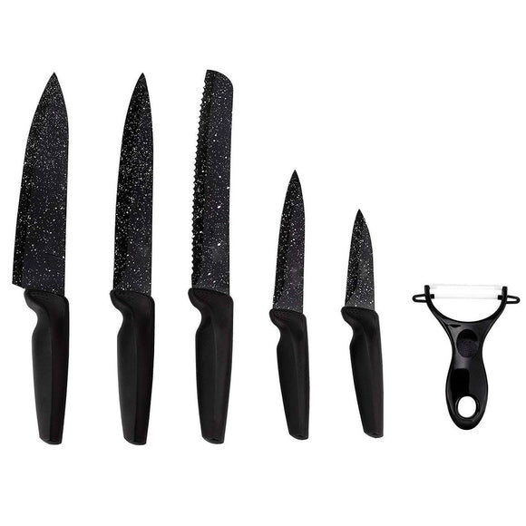 6 Piece Black Knife Set with peeler