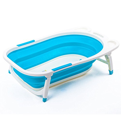 Flat Foldable Baby Bath Tub (Blue)