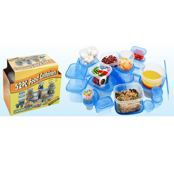 52 Piece Essential Plastic Food Storage Container Set