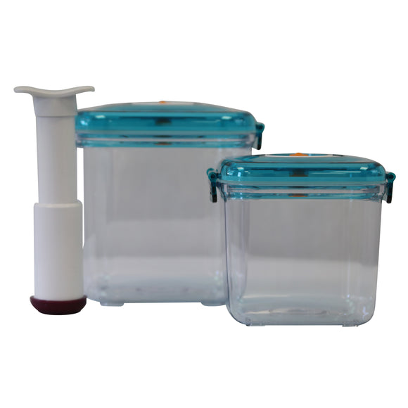Airtight Food Preservation Storage Container (1.3L+2.6L) (Blue)