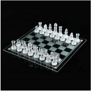 Glass Chess Set Checkers Backboard Game Set