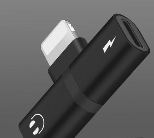 2 in 1 Lightning Splitter Headphone Adapter Charger (Black)
