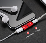 2 in 1 Lightning Splitter Headphone Adapter Charger (Red)