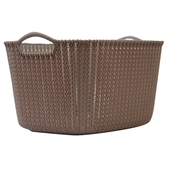 Large Rattan Effect Storage Basket (Brown)