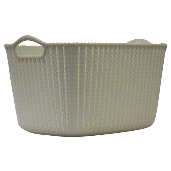 Large Rattan Effect Storage Basket (Cream)