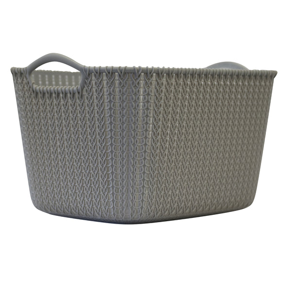 Large Rattan Effect Storage Basket (Silver)