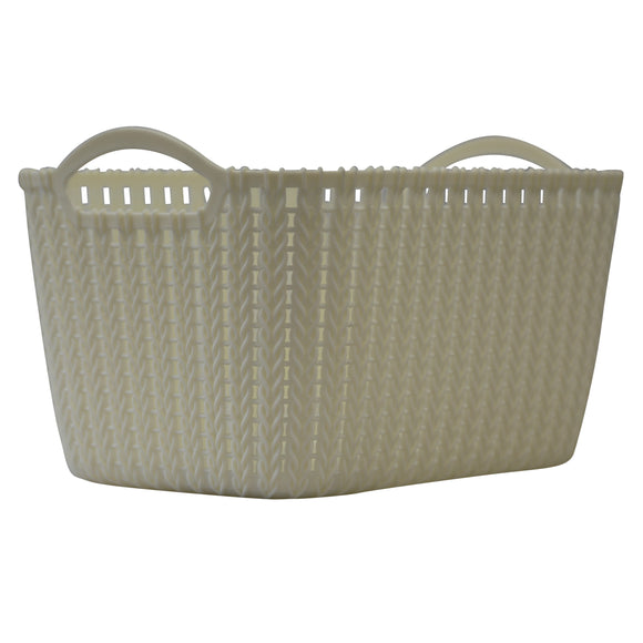 Medium Rattan Effect Storage Basket (Cream)