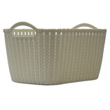 5 Pack Medium Rattan Effect Storage Basket (Cream)