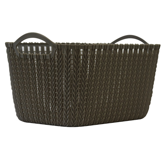 Medium Rattan Effect Storage Basket (Olive)