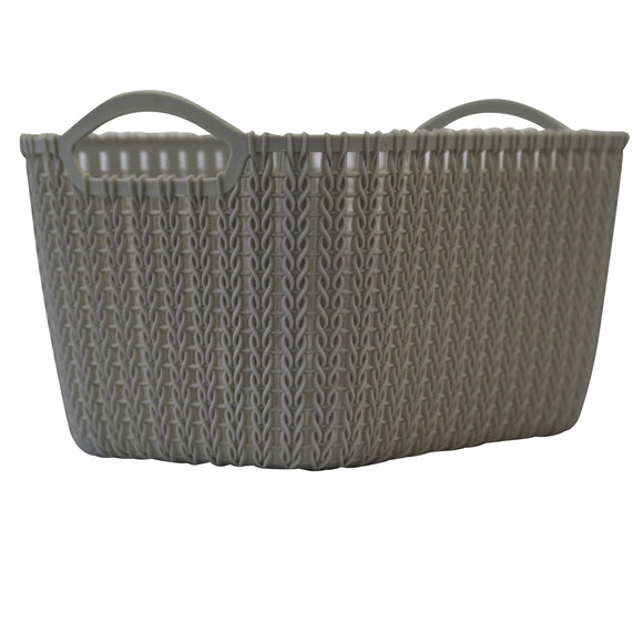 5 Pack Medium Rattan Effect Storage Basket (Silver)