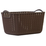Small Rattan Effect Storage Basket (Brown)