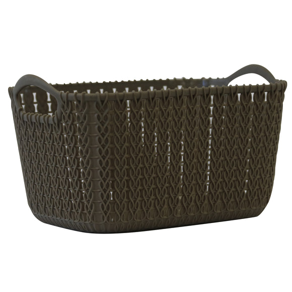 Small Rattan Effect Storage Basket (Olive)