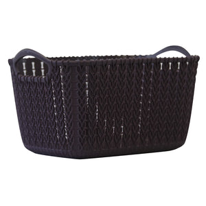 Small Rattan Effect Storage Basket (Purple)