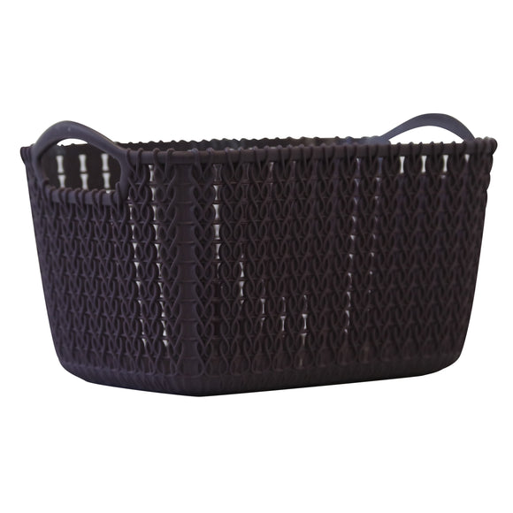 5 Pack Small Rattan Effect Storage Basket (Purple)