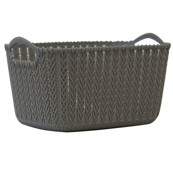 5 Pack Small Rattan Effect Storage Basket (Silver)