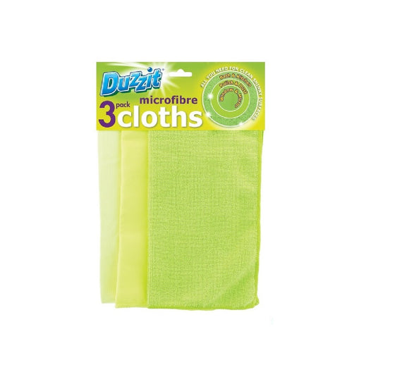 DUZZIT Green Microfibre Cloth (3PK)