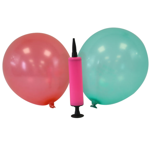 Mini Latex Balloons - Assorted Colours + Balloon Pump (Pink)