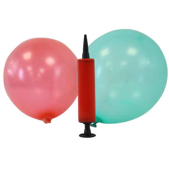 Mini Latex Balloons - Assorted Colours + Balloon Pump (Red)