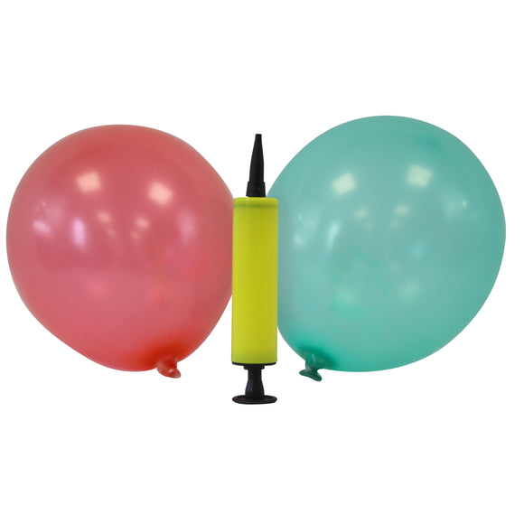 Mini Latex Balloons - Assorted Colours + Balloon Pump (Yellow)