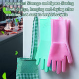 Multi Purpose Silicone Dishwashing Gloves with Bristles (Green)