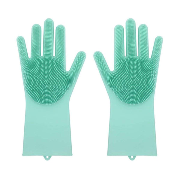 Multi Purpose Rubber Gloves with Bristles (green)