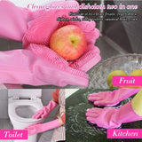 Multi Purpose Silicone Dishwashing Gloves with Bristles (Pink)