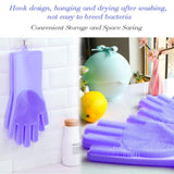 Multi Purpose Silicone Dishwashing Gloves with Bristles (Purple)