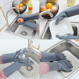 Multi Purpose Silicone Dishwashing Gloves with Bristles (Silver)