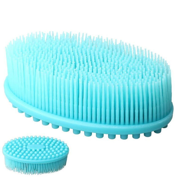Multi Purpose  Silicone Dish Washing Sponge Brush with Bristles (Blue)