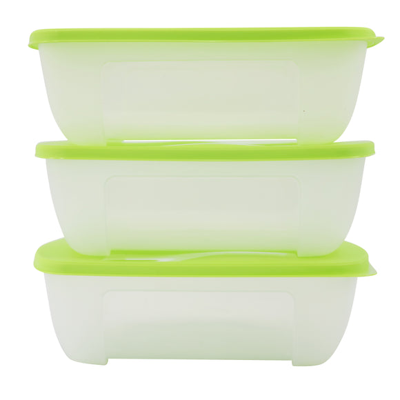 SuperGift Essentials - 3 Piece Plastic Food Storage Container (Large) (Green)