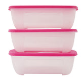 SuperGift Essentials - 3 Piece Plastic Food Storage Container (Large) (Pink)
