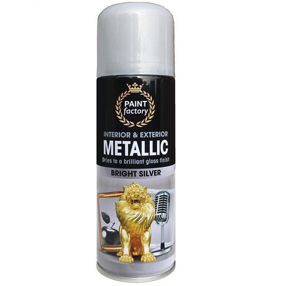 Paint Factory Metallic Silver Spray Paint 200ml