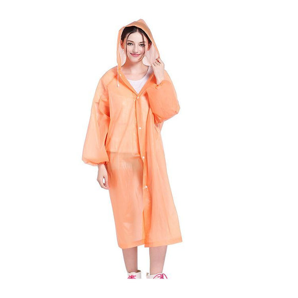 Reusable Waterproof Raincoat (Orange)
