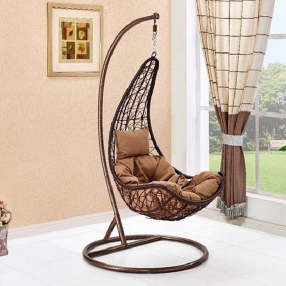 Rattan Garden Long Hanging Chair with Cream Cushion